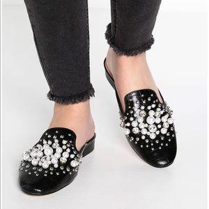 🌷River Island Black Mules Diamond Pearls Size 8